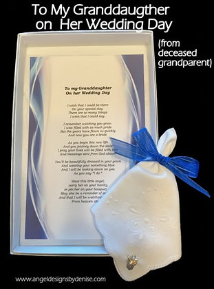 **To My Granddaughter on Her Wedding Day (from deceased grandparent)
