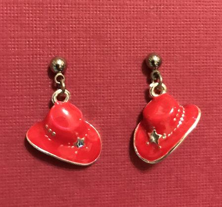 Red Hat Pierced Earrings w/ Silver Star