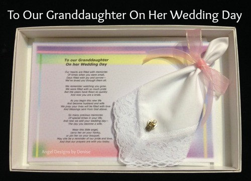 To Our Granddaughter on Her Wedding Day Hankie & Angel Pin Set