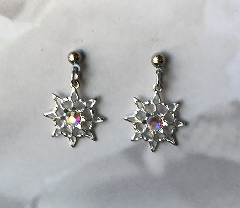 Aurora Borealis Single Stone Snowflake Earrings #846EAB