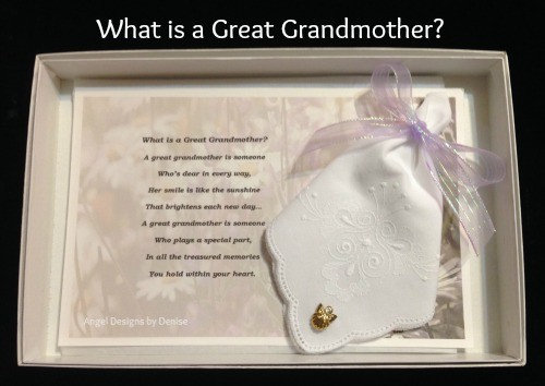 What is a Great-Grandmother Hankie & Angel Pin Gift Set