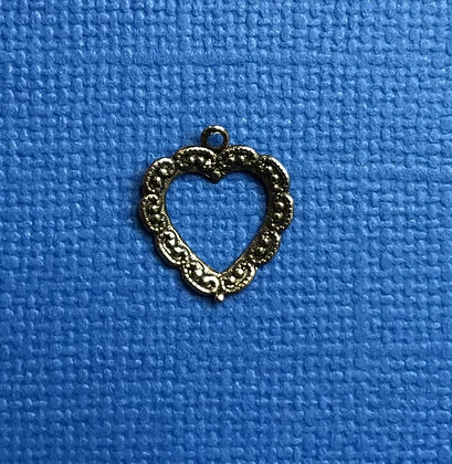 Small Lacy Look Antique Silver Open Charm