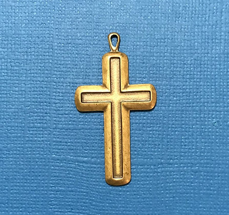 Large Antique Gold Cross Charm/Pendant
