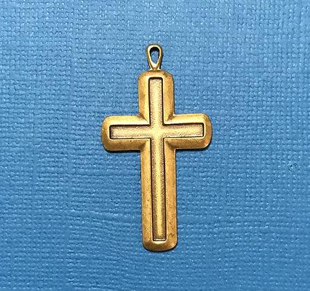 Large Antique Gold Cross Charm/Pendant