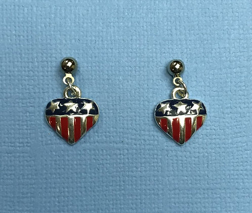 Enameled Heart Earrings