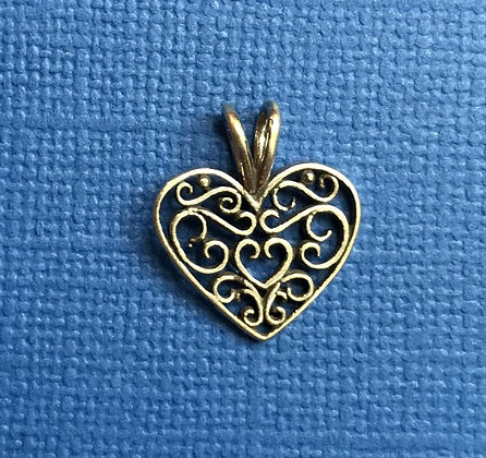 Sterling Silver Filigreed Heart