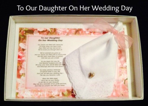 To Our Daughter on Her Wedding Day Hankie & Angel Pin Set