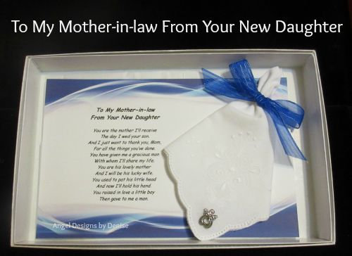 To My Mother-in-law From New Daughter Hankie & Angel Pin Gift Set