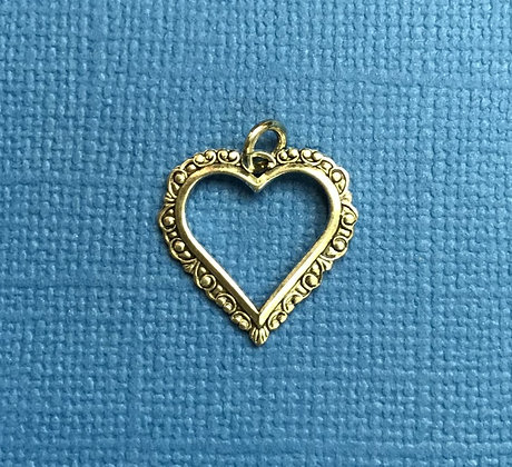 Scrolled Antique Silver Open Heart Charm