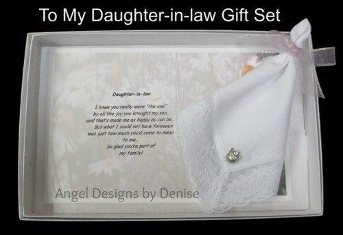 To My Daughter-in-law Hankie & Angel Pin Gift Set