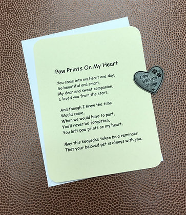 Paw Prints On My Heart Poem & Token Set