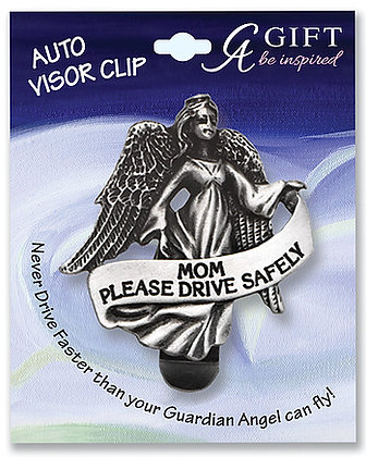 Mom Guardian Angel Visor Clip Front View