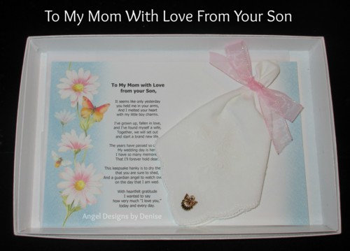 To My Mom With Love From Your Son Hankie & Angel Pin Set