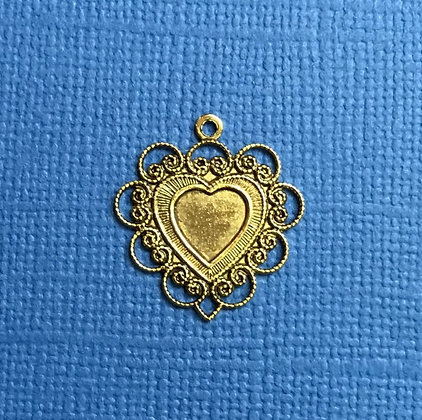 Gold Lacy Solid Heart Charm