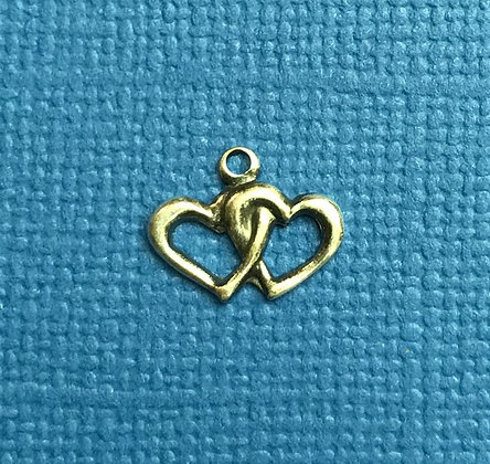 Tiny Antique Silver Double Hearts Charm