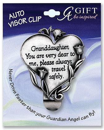 Granddaughter Heart Visor Clip Front View
