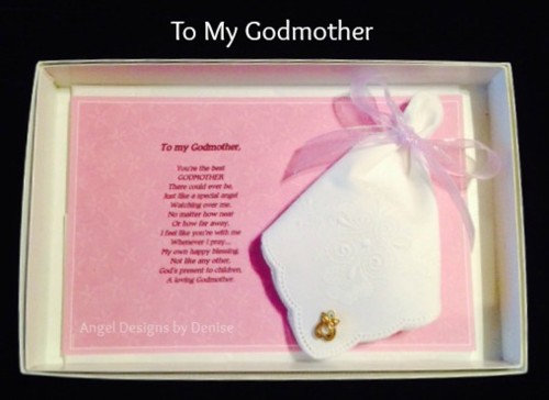 To My Godmother Hankie & Angel Pin Gift Set