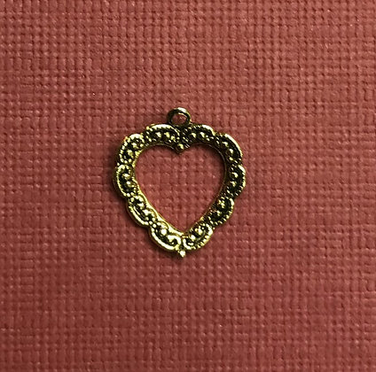 Small Lacy Look Antique Gold Open Charm