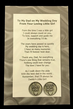 To My Dad From Your Little Girl Poem & Token Set