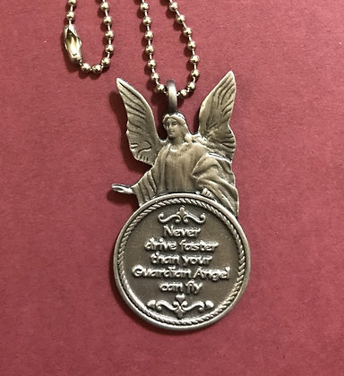 Front of Never Drive Angel Mirror Medallion #1