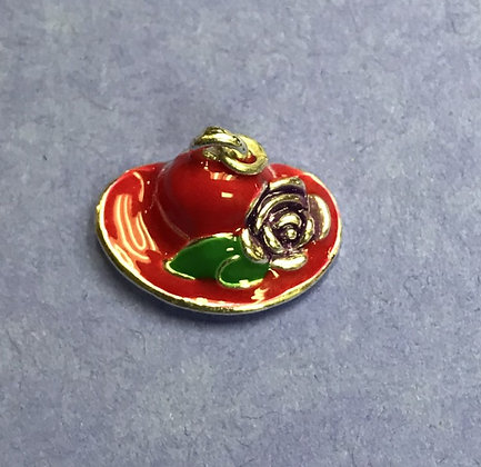 Red Hat Charm w/Purple Flower