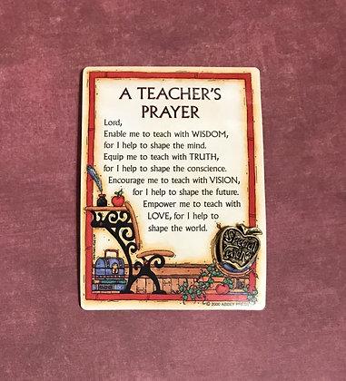 Special Teacher Pin & Prayer Card