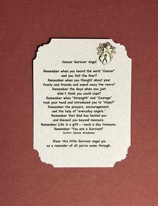 Cancer Survivor Angel Pin & Poem Card Set