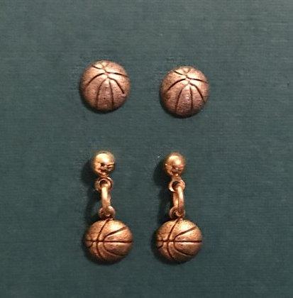 Tiny Basketball Earrings