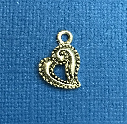 Antiqued Heart Charm