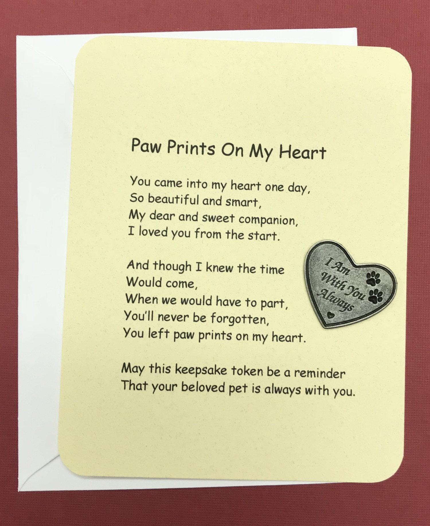 Paw Prints On My Heart Poem & Token Set   angeldesignsbydenise