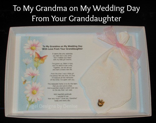 To My Grandma From Your Granddaughter On My Wedding Day Hankie & Angel Gift Set