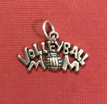 Sterling Silver Volleyball Mom Charm