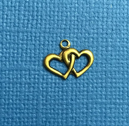 Tiny Antique Gold Double Hearts Charm
