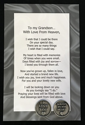 To My***Grandson  with Love From Heaven Token Set