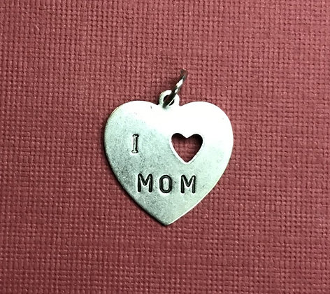 I Love Mom Silver Charm