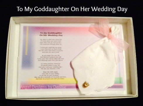 To My Goddaughter On Her Wedding Day Hankie Angel Pin Gift Set