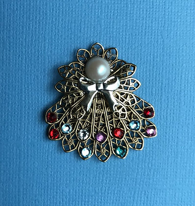 Double Skirted Birthstone Angel Pin (14 stones on skirts) #257Pdouble