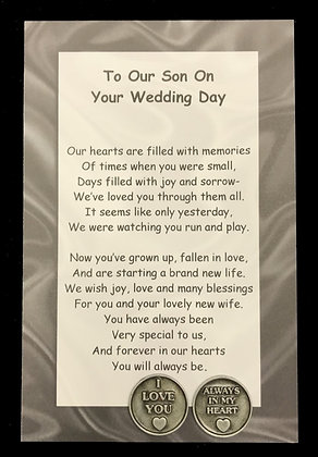 To My or Our Son on Your Wedding Day Token Set