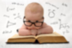 funny portrait of cute baby in glasses l
