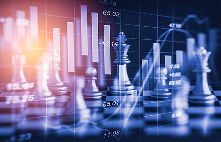 Chess game on chess board behind forex c