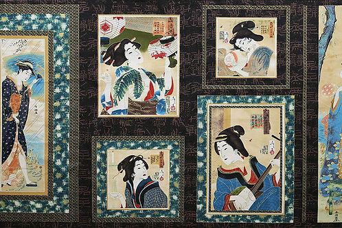 Geisha Six Panel A (Teal Borders)