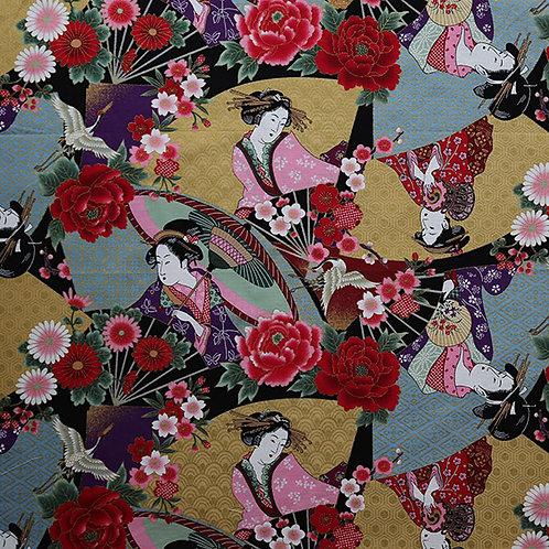 Floral Crane Geisha Multi
