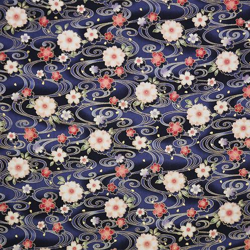 Navy Floral Swirls