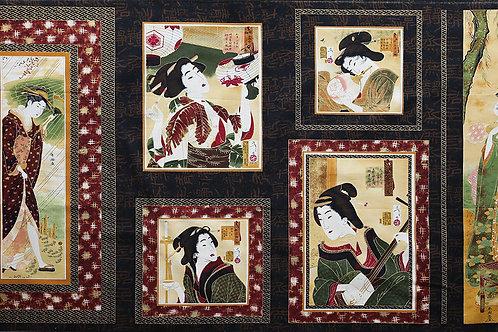 Geisha Six Panel B (Brown Borders)