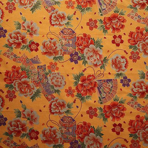 Floral Fan Lantern Multi Orange