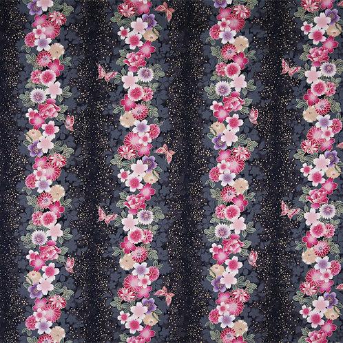 Black Floral Stripes