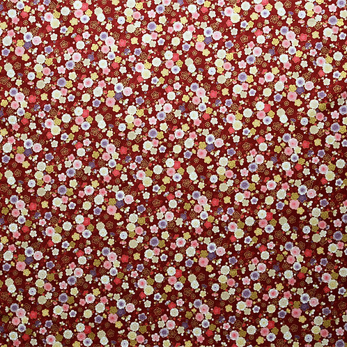 Burgandy Gold Small Floral