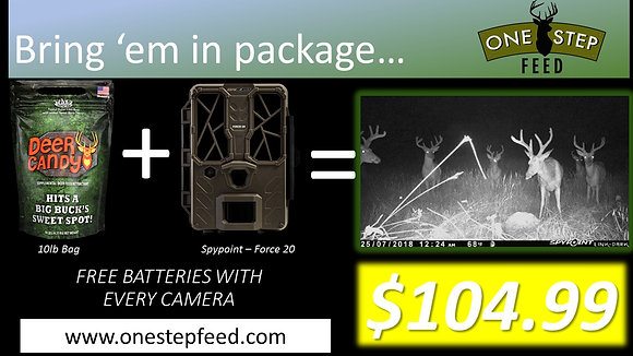 Bring 'em in Package = Trail Camera + Deer Attractant (Spypoint & Deer Candy)