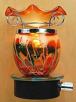 Plug-In Oil Warmer: Glass Ball (Orange Wave)