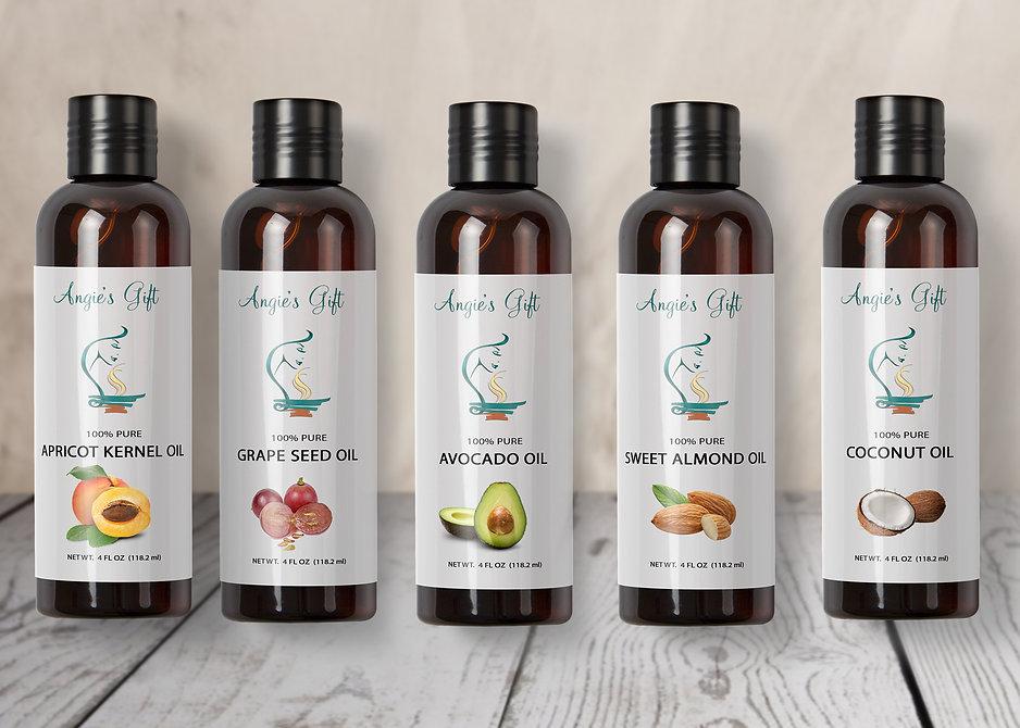 apricot kernel oil, grape seed oil, avocado oil, sweet almond oil, coconut oil, aromatherapy carrier oil